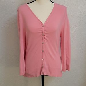 Star City Pink Button Down Sweater